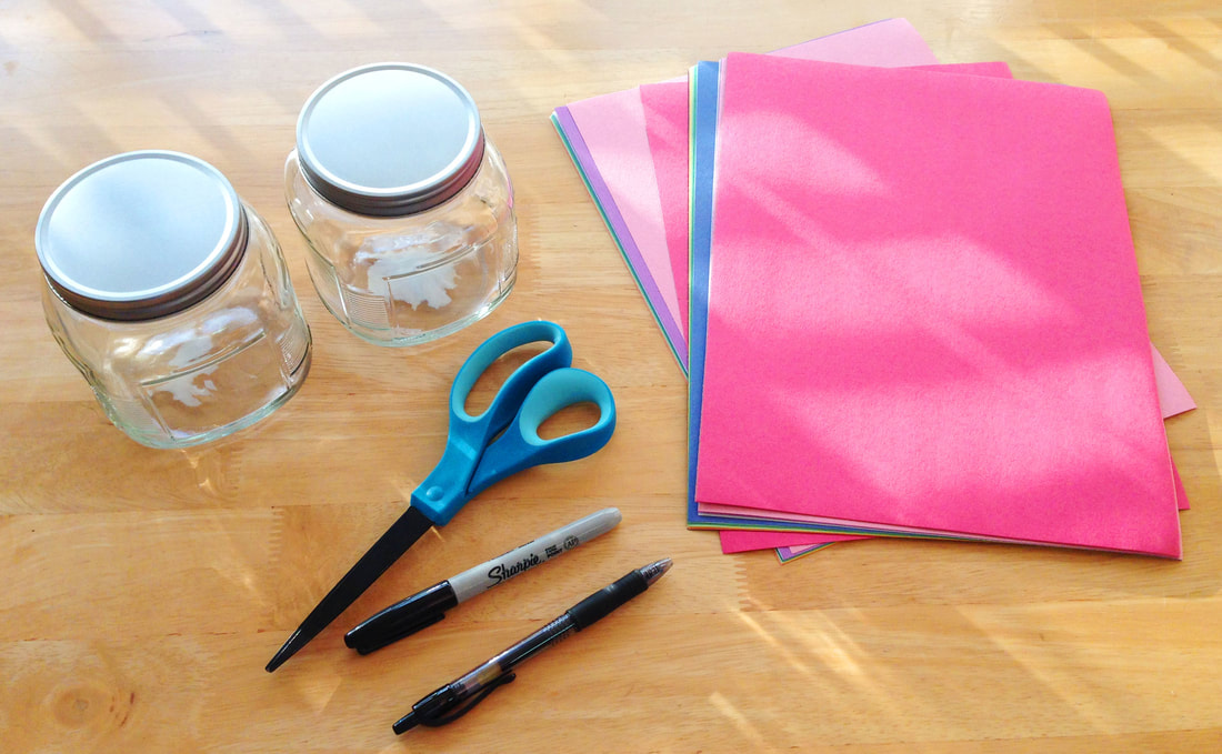 supplies needed to DIY activity idea jars, DIY craft project supplies