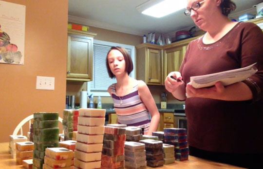 Mother and Daughter Taking Inventory Together, family business, family soap business