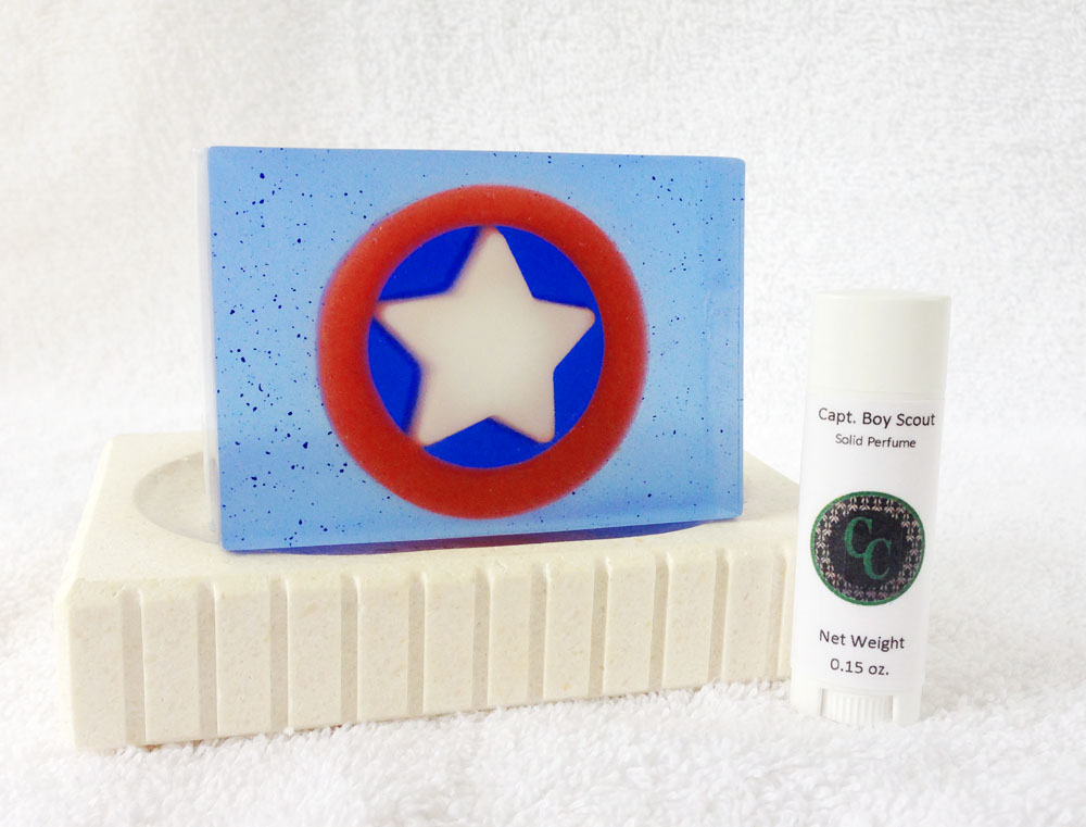 Capt. Boy Scout goat milk and glycerin soap and solid perfume inspired by Marvel's Captain America.