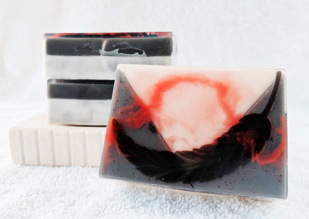 Contented Comfort Soaps, Faustian Butler Goat Milk and Glycerin soap, soap inspired by Black Butler, Sebastian Michaelis inspired soap, anime soap