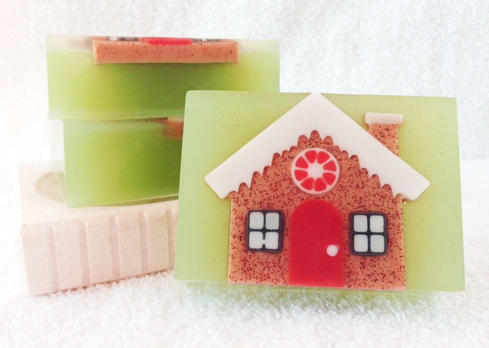 Holiday Goodies Goat Milk and Glycerin Soap from Contented Comfort, Christmas Soap, Gingerbread House soap, sweet and spicy smelling soap, detergent free soap, dye free soap