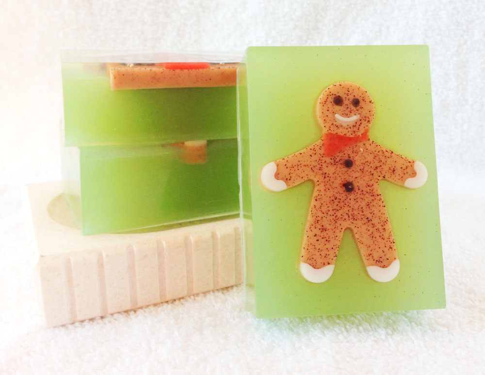 Holiday Goodies Gat Milk and Glycerin Soap from Contented Comfort, Christmas Soap, Gingerbread Man Soap, sweet and spicy smelling soap, dye free soap, detergent free soap