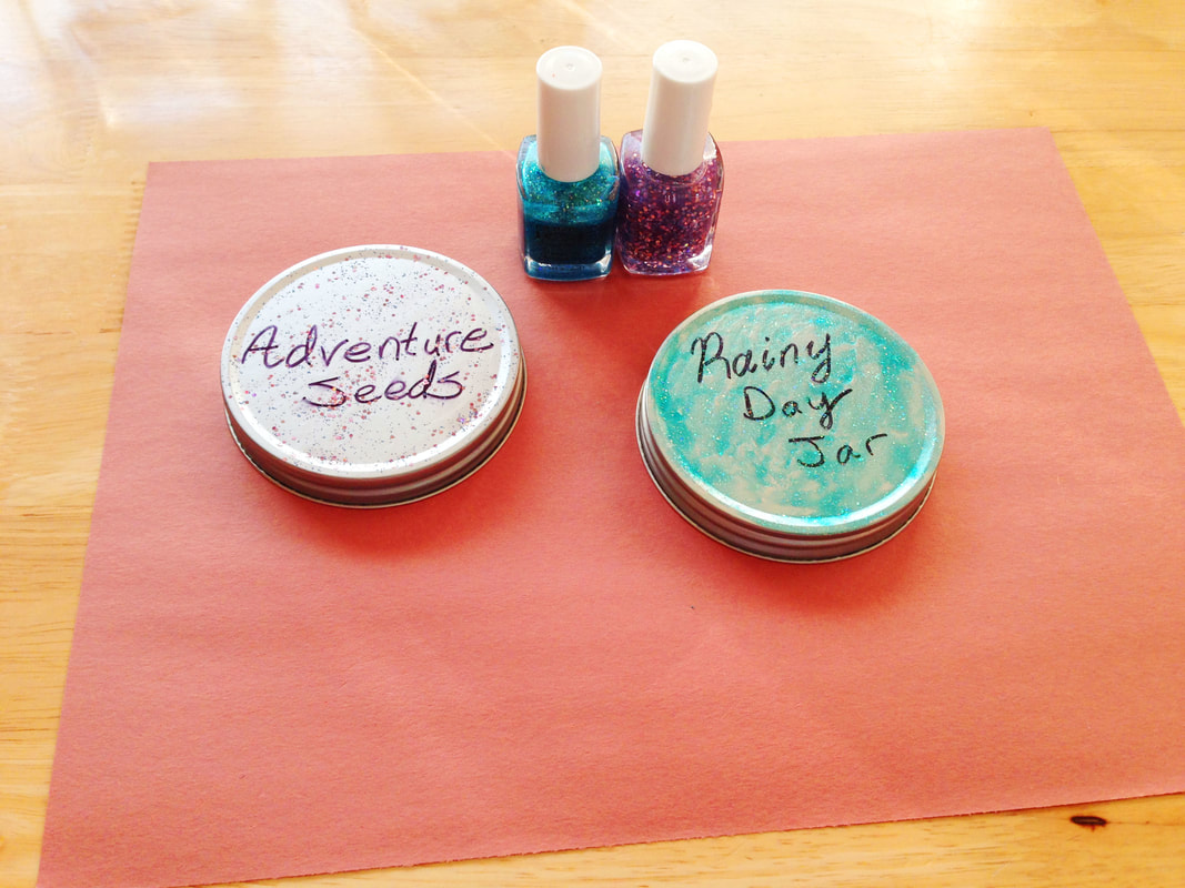 Embellished lids for activity idea jar DIY, using glittery nail polish to decorate crafts