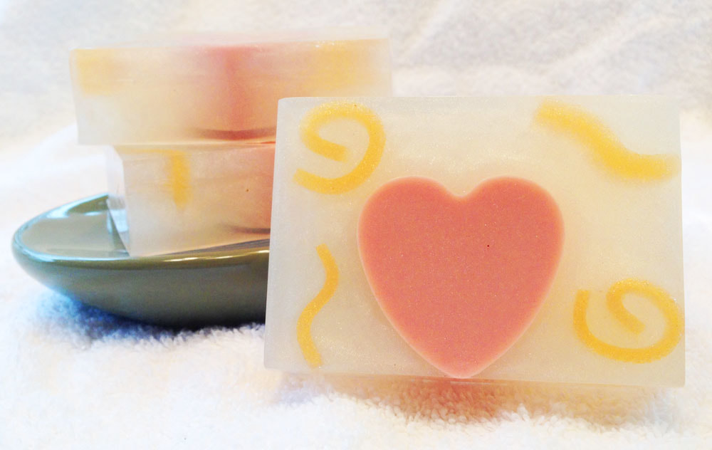 Strawberries and Champaign Goat Milk and Glycerin Soap, Valentine's Day Soap, Pretty soap with hearts and sparkle for Valentine's Day, detergent free soap, dye free soap, hypoallergenic soap