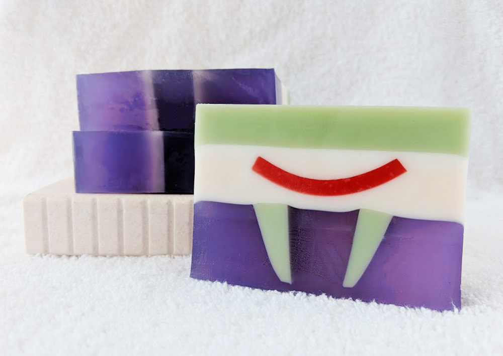 Mr. J Soap, inspired by Batman's Joker, inspired by The Joker, geeky soap, Joker soap