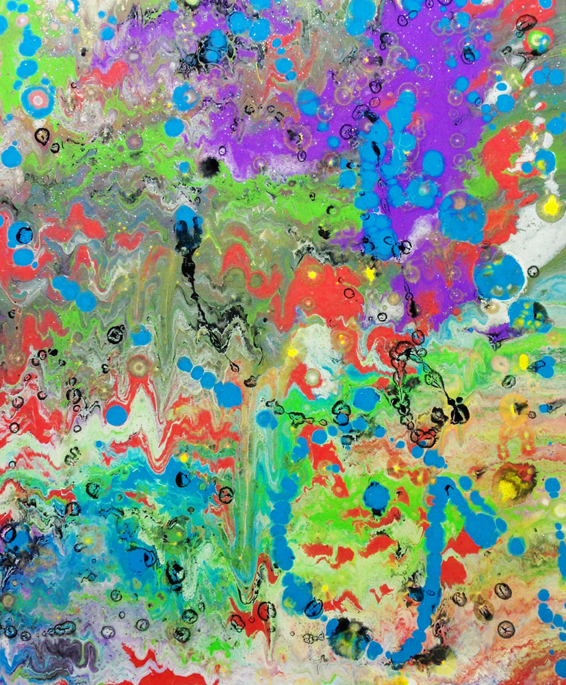 colorful abstract art, colorful modern art, acrylic pour and splatter painting, Through a Child's Eyes by A. B. England